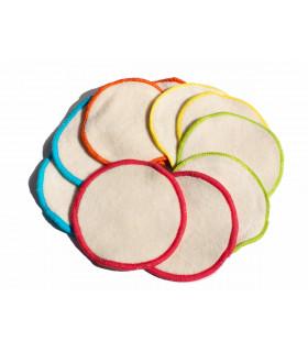 10 disques démaquillants au rebords en couleurs
