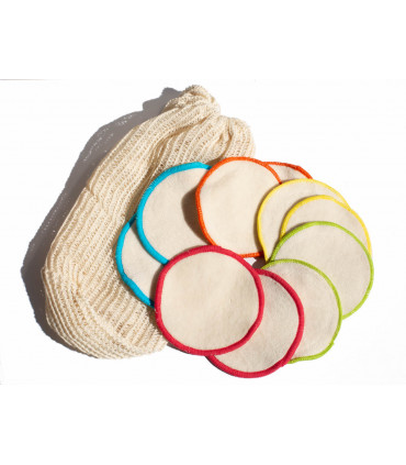 Ten Organic Cotton Washable Makeup Remover Pads with a bag