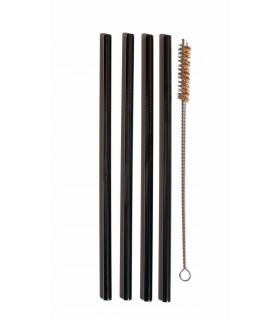 Pailles en acier inoxydable noires larges et goupillon en fibre de noix de coco