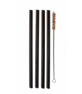 Large black stainless steel straws and coconut fiber straw brush