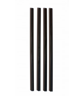 Pailles en acier inoxydable noires larges
