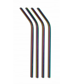 Four bent multicolor stainless steel straws