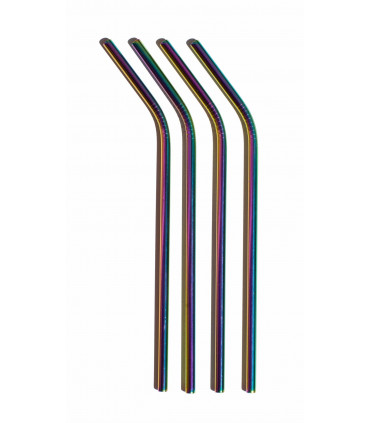 Bent Rainbow Stainless Steel Straws Set Buy On Takaterra Com
