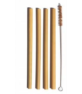 Quatre pailles réutilisables en bambou avec leur goupillon