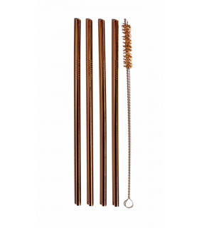 Pink Gold colored Stainless Steel Straws with ecological coconut fibre straw brush