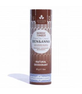 Déodorant solide en tube de carton Nordic Timber de Ben & Anna