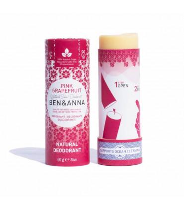 Vegan and natural deodorant bar stick Pink Grapefruit from Ben & Anna