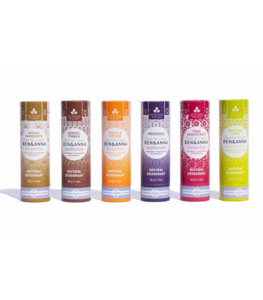 Vegan and natural deodorant bar sticks of Ben & Anna