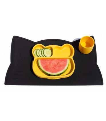 Set de table enfant noir en silicone alimentaire We might be tiny