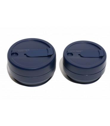Elegant collapsed Stojo cup 355 ml with folded Stojo cup 470 ml dark blue