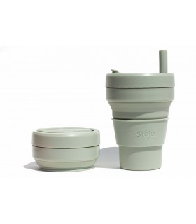 Pretty collapsed Stojo cup with unfolded Stojo cup 470 ml green