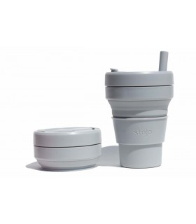 Pretty collapsed Stojo cup with unfolded Stojo cup 470 ml grey
