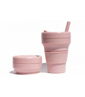 Pretty collapsed Stojo cup with unfolded Stojo cup 470 ml light pink