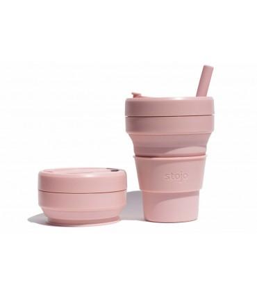 Sublime tasse Stojo repliée avec tasse Stojo dépliée de 470 ml rose pâle