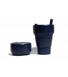 Pretty collapsed Stojo cup with unfolded Stojo cup 470 ml dark blue