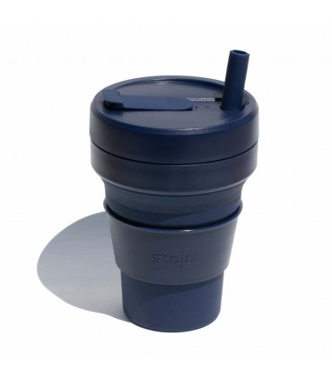 Collapsible Stojo cup 470 ml dark blue with ecological silicone straw