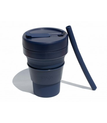Collapsible Stojo cup 470 ml dark blue with reusable silicone straw