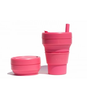 Pretty collapsed Stojo cup with unfolded Stojo cup 470 ml pink