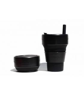 Pretty collapsed Stojo cup with unfolded Stojo cup 470 ml black