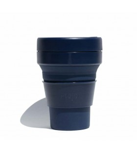 Collapsible Stojo cup 470 ml navy blue  with silicone straw