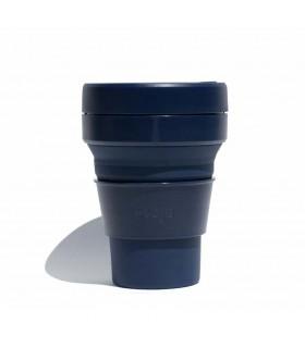 Tasse pliable Stojo 355ml bleue marine en silicone