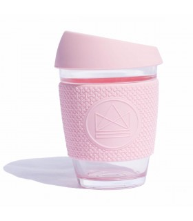 Design Neon Cactus Glass cup in Pink Flamingo with silicone seal and grip