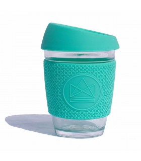 Design Neon Cactus Glass cup in Mint with silicone seal and grip