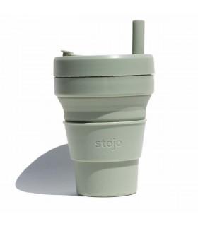 Tasse pliable Stojo 470ml verte avec paille en silicone réutilisable