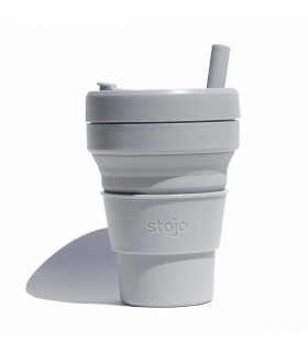 Tasse pliable Stojo 470ml grise avec paille en silicone