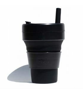 Collapsible Stojo cup 470 ml black with silicone straw