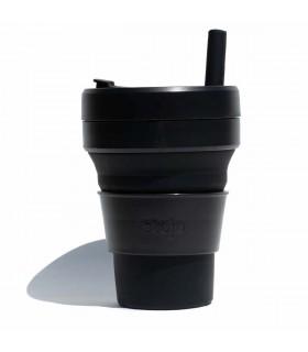 Tasse pliable Stojo 470ml noire avec paille en silicone
