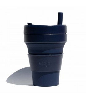 Collapsible Stojo cup 470 ml dark blue with silicone straw
