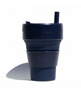 Tasse pliable Stojo 470ml bleue marine avec paille en silicone
