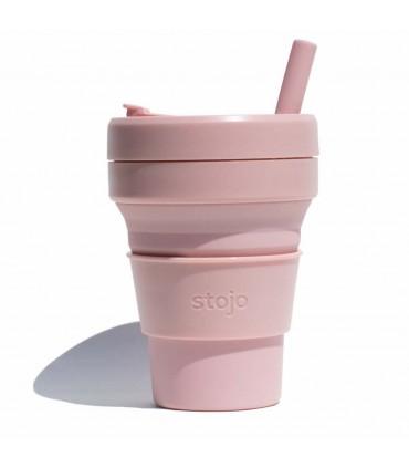 Tasse pliable Stojo 470ml rose pâle avec paille en silicone
