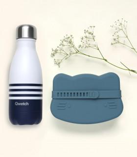 Coffret cadeau écologique pour garçon, composé d'une bouteille isotherme et une boîte à goûter