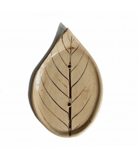 Handmade ceramic soap dish for bar cosmetics, in a shape of a leaf