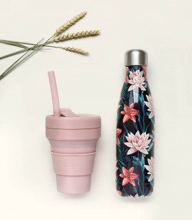 Coffret cadeau écologique pour elle, composé d'une bouteille isotherme et une tasse pliable