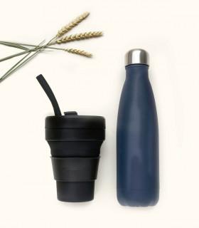 Coffret cadeau écologique pour homme composé d'une bouteille isotherme et une tasse pliable