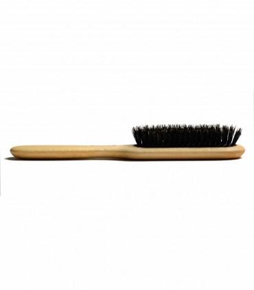 Wooden, rectangular hair brush made of wild boar bristle