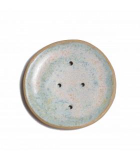 Porte savon en céramique coupelle bleu ciel, Takaterra