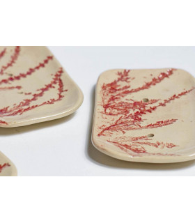 Rectangular vintage ceramic soap dishes with red heather branch, Takaterra