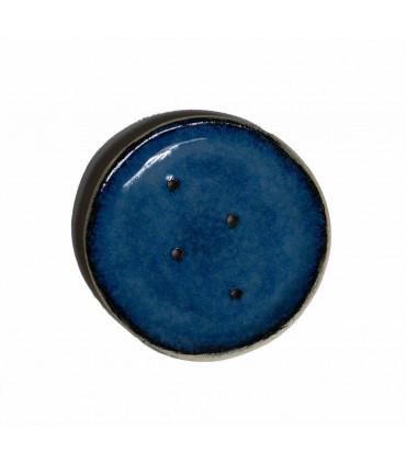Porte savon en céramique, rond, bleu, Takaterra
