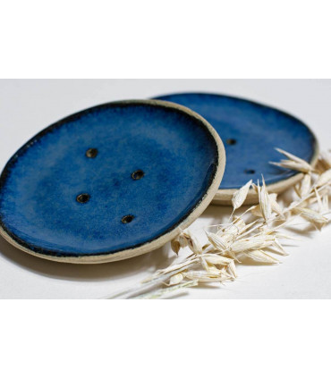 Porte savon en céramique fait main, bleu marin, Takaterra