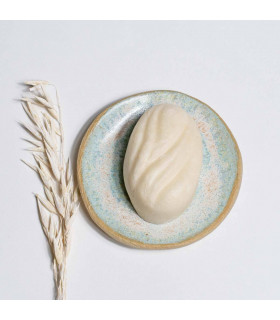 Porte savon en céramique, rond, bleu ciel, Takaterra