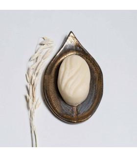 Porte savon en céramique, doré, en forme de feuille, Takaterra
