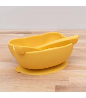 Bol antidérapant et couverts en silicone jaune pour bébé, We might be tiny