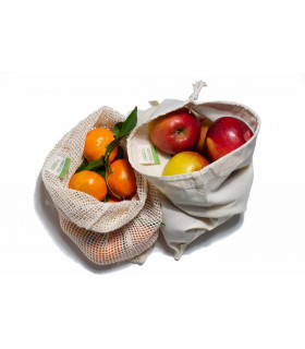 Large organic cotton produce bag, A slice of green