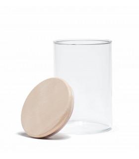 Bocal en verre, couvercle en bois 0,8L