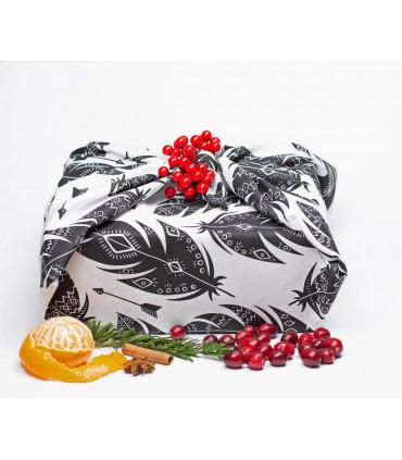 Grand furoshiki pour cadeau, noir et blanc, Takaterra