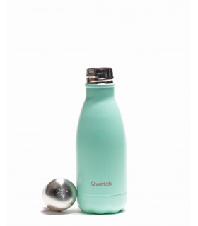 Small Pastel mint colored Qwetch reusable water bottle open